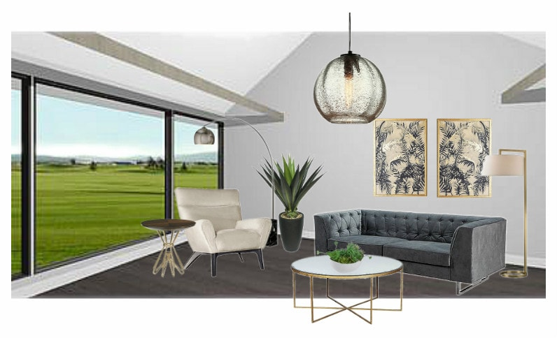 Midcentury Glam Living Room