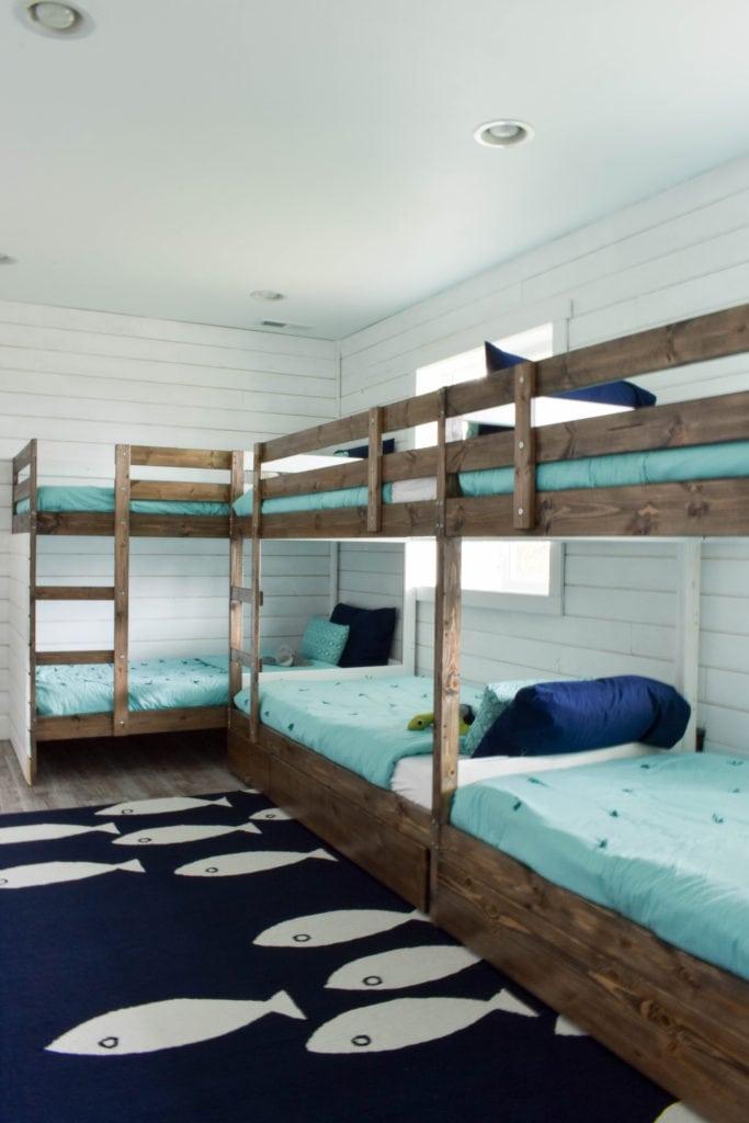 Beach House Bunk Room @jessicawellinginteriors.com, bunkbeds, kids room