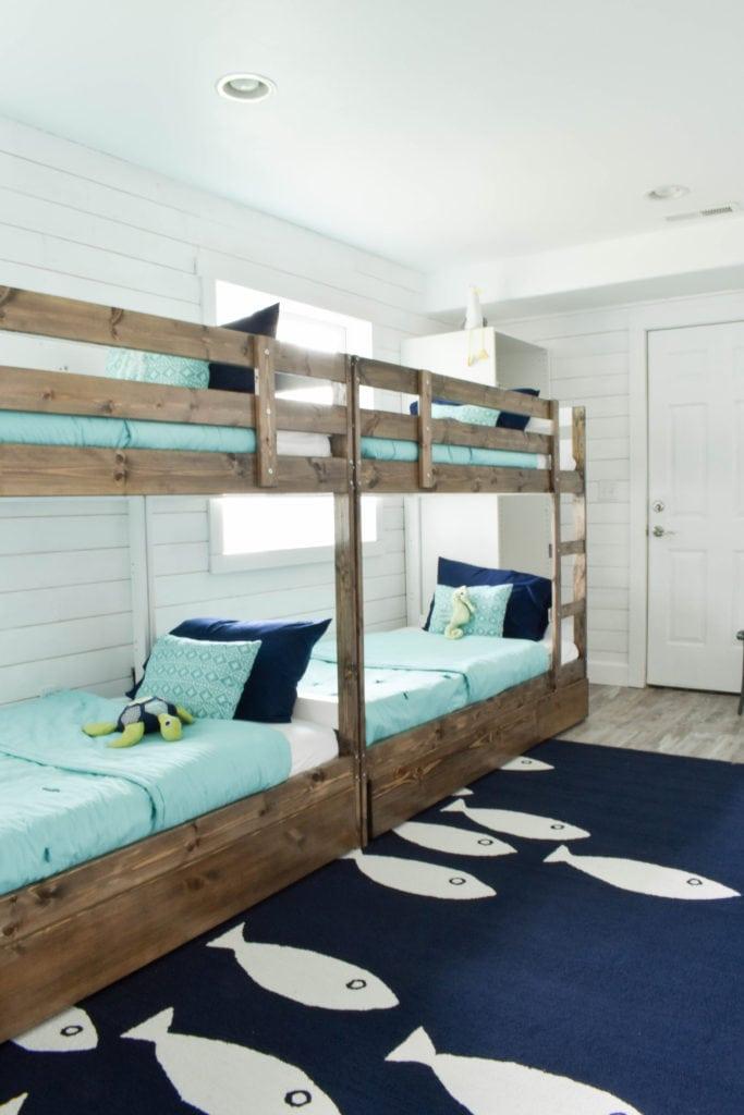 Beach House Bunk Room @jessicawellinginteriors.com