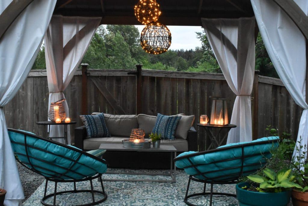 Gazebo, outdoor lights, lanterns, chandelier