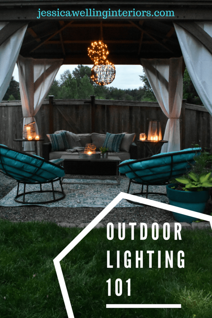 photo of outdoor living room with chandelier and lanterns