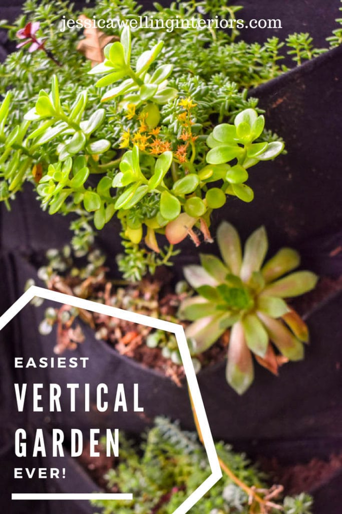 This ultra-simple outdoor vertical garden is the perfect decor for a fence or wall. Just fill the felt planter pockets with your favorite herbs or flowers.