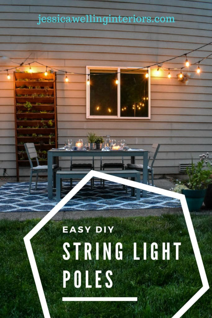 photo of patio with string lights and poles
