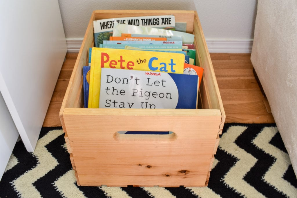 photo of wood crate of children's books