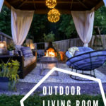 outdoor living room on a budget with outdoor rug, curtains, papasan chairs
