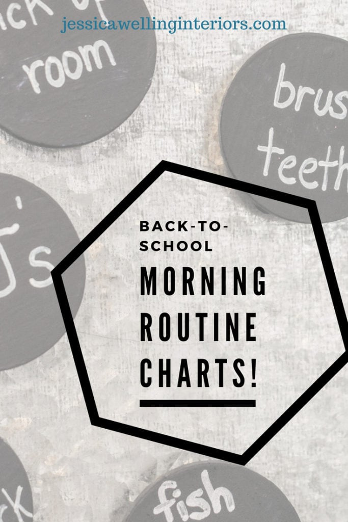 "Back-To-School Morning Routine Charts text layed over magnets that say ""brush teeth"", ""clean room"" and ""PJ's"""