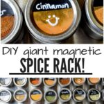 DIY Giant Magnetic Spice Rack- close-up of cinnamon cannister on top and whole rack on bottom with 36 spices
