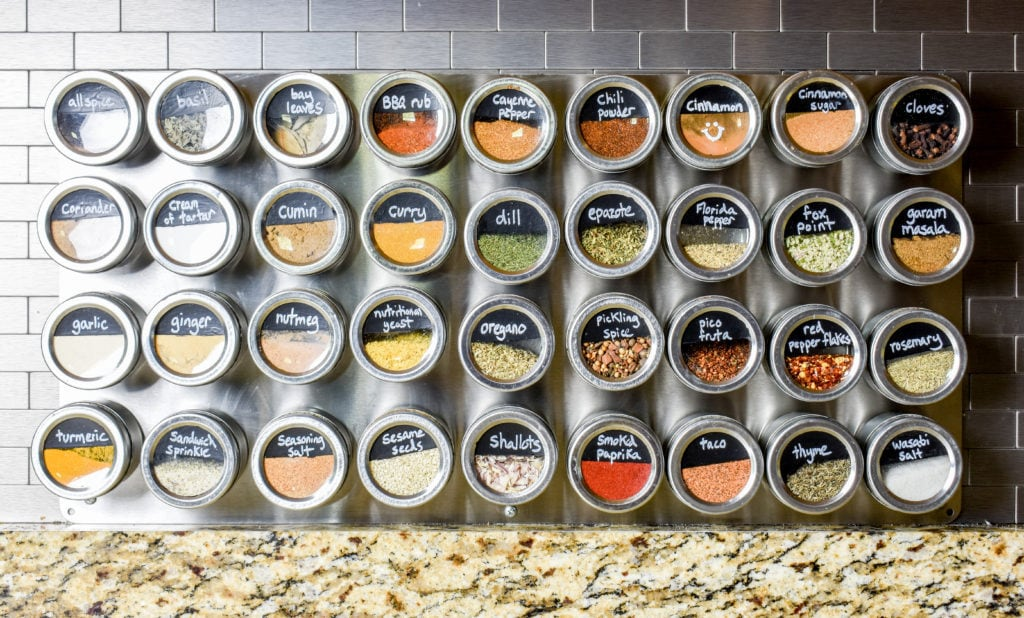 photo of magnetic spice rack with tins