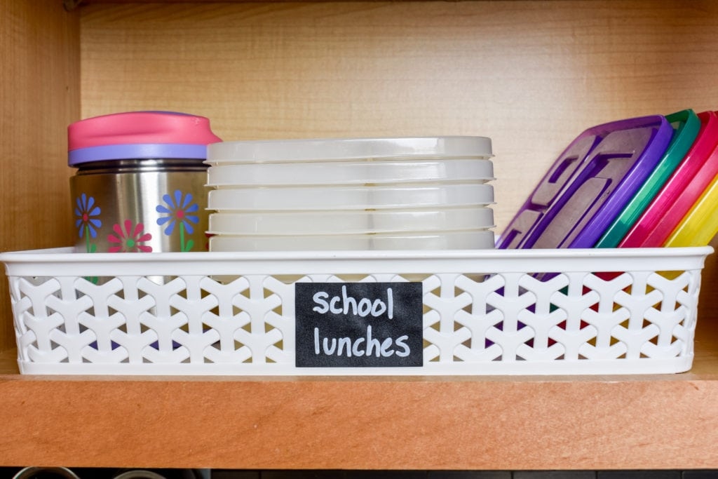 photo of school lunch packing station