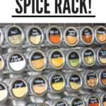 giant magnetic spice rack mounted to wall with 36 spices