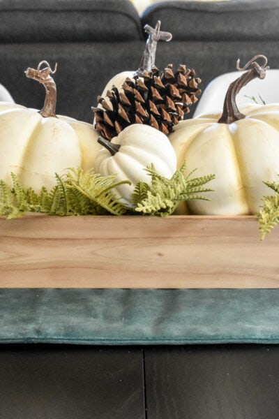 photo of white pumpkin centerpiece Fall decor