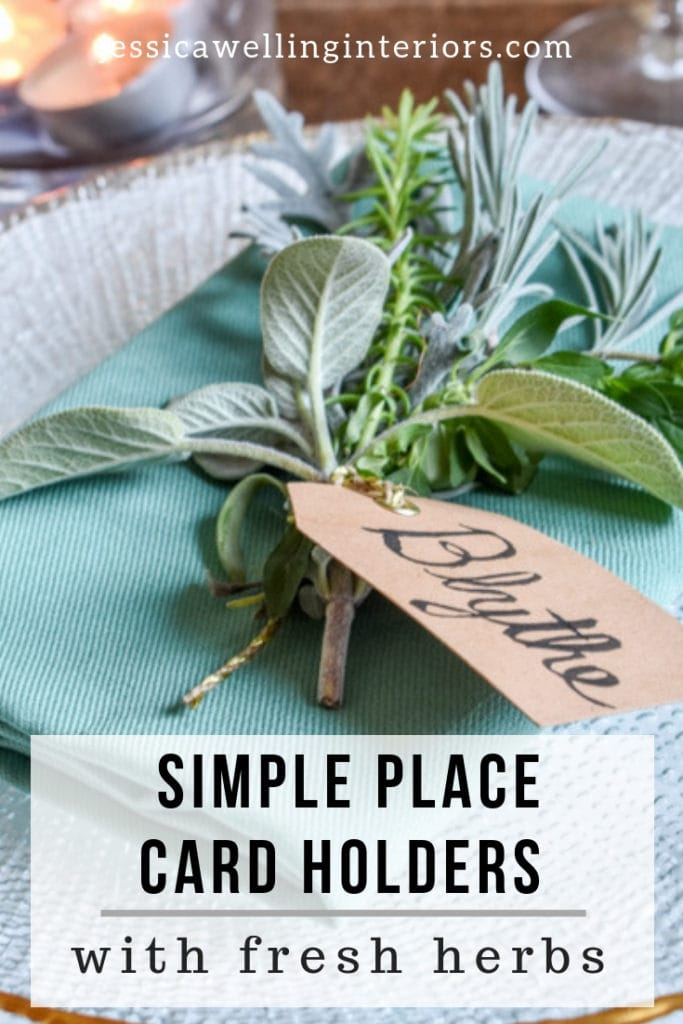 Set a stunning holiday table with these super-easy & inexpensive place card holders. They're made with fresh herbs & plants clipped from the backyard! This is perfect for Christmas, Thanksgiving, Easter, you name it!