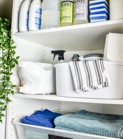 image of small laundry room with shelving