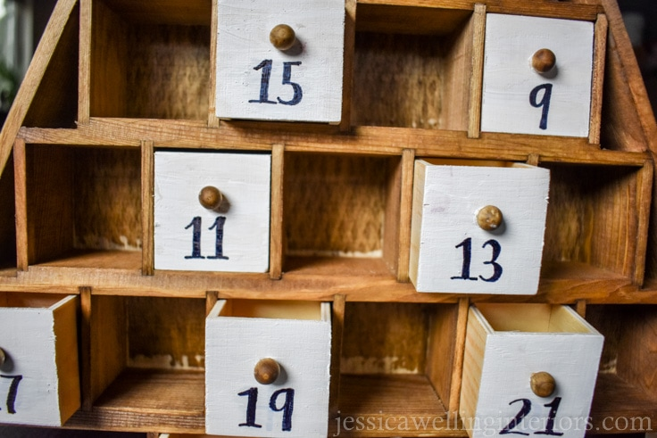 reusable wood advent calendar with half of the drawers in place