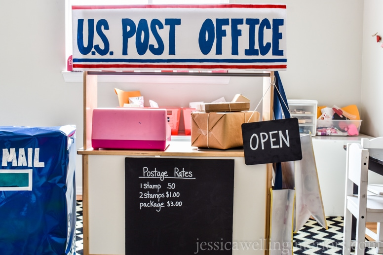 image of play post office with big blue mailbox