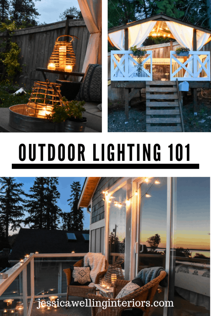 Backyard Lighting Ideas: A Simple Guide for Outdoor Living Spaces images of candle lanterns, a playhouse illuminated by string lights, and a balcony with string lights