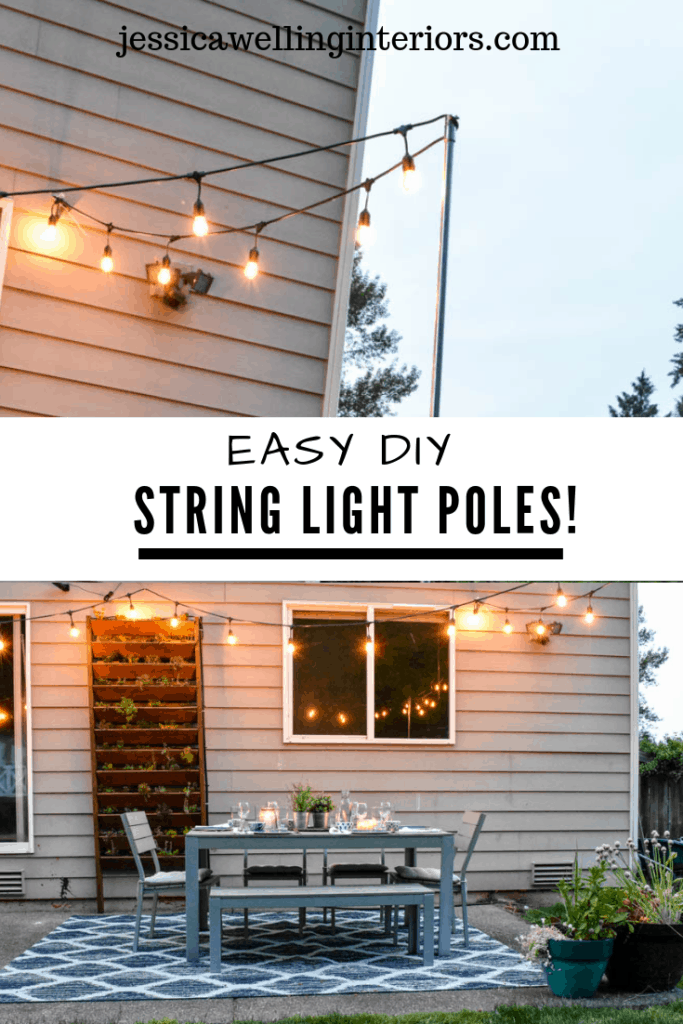 Easy DIY String Light Poles! Close-up of the top of an easy string light pole, and image of patio with patio light poles over it
