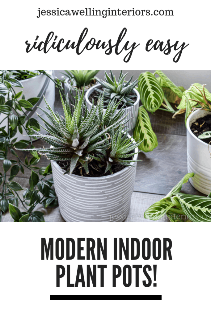 If you can draw lines and dots, you can make these inexpensive and fun modern indoor planters! All you need is pots and paint pens!