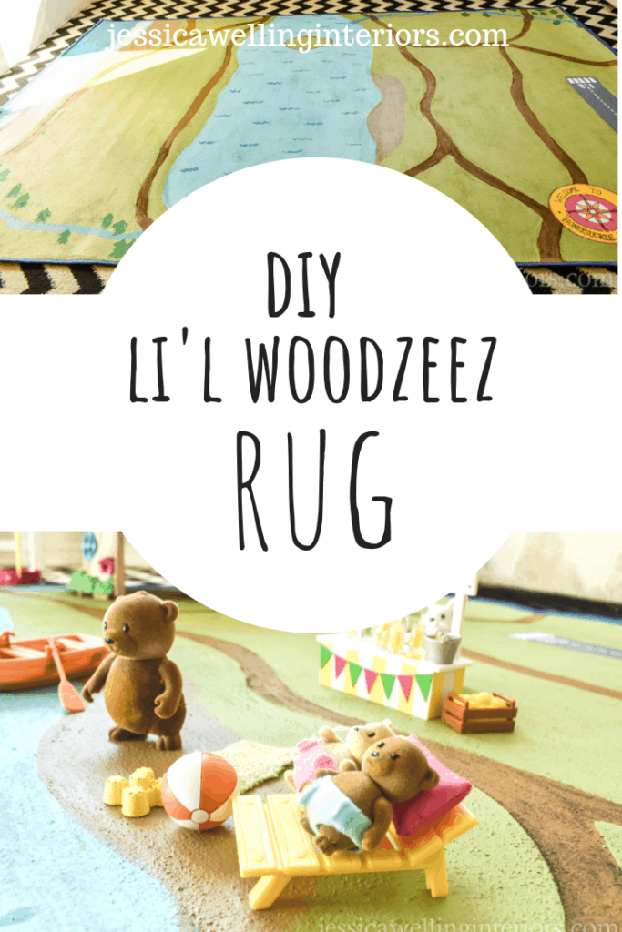 This easy DIY painted play rug is perfect for Li'l Woodzeez, Calico Critters, Little People, and more! It's the perfect mat for their imaginative play.