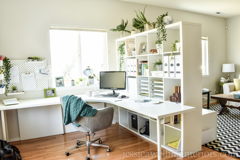 design studio makeover after photo with ikea kallax bookshelf as a room divider, ikea linnmon desk pieces all in white
