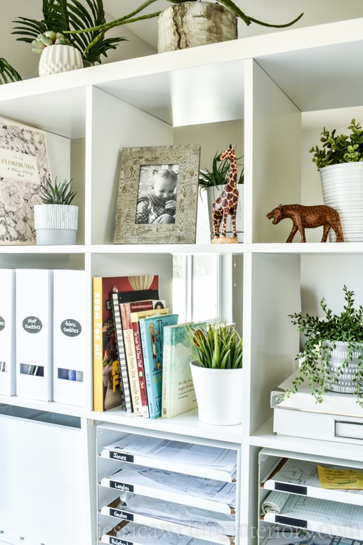 ikea home office ideas: close-up of white ikea kallax bookshelf with books, plants, photos, and animal statues