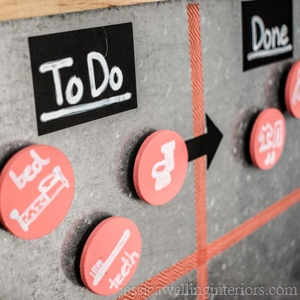 """galvanized magnetic kids morning routine chart. Labels """"To Do"""" and """"Done"""""""