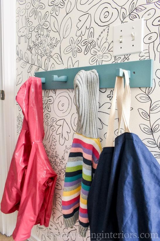 Kids Room Organization Hack: Modern Coat Hooks