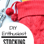 DIY Enthusiast Stocking Stuffers: Red stocking with tools sticking out the top