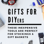 Gifts for DIYers: These inexpensive tools are perfect for stockings and gift baskets: flat lay photo of tools on white background