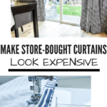 Make Store-Bought Curtains Look Expensive: image of curtains hanging in dining room and second image of panel being sewed