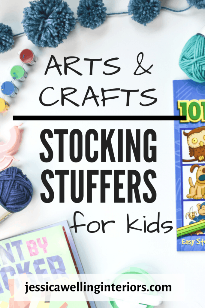 Arts & Crafts Stocking Stuffers for Kids: drawing book, yarn steins, pompom makers, paints, and pompoms on a white background