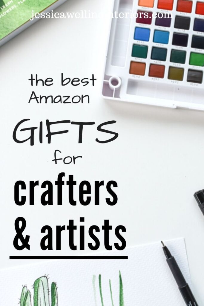 The Best Amazon Gifts for Crafters & Artists: watercolor palette, drawing pens, and partially completed cactus drawing