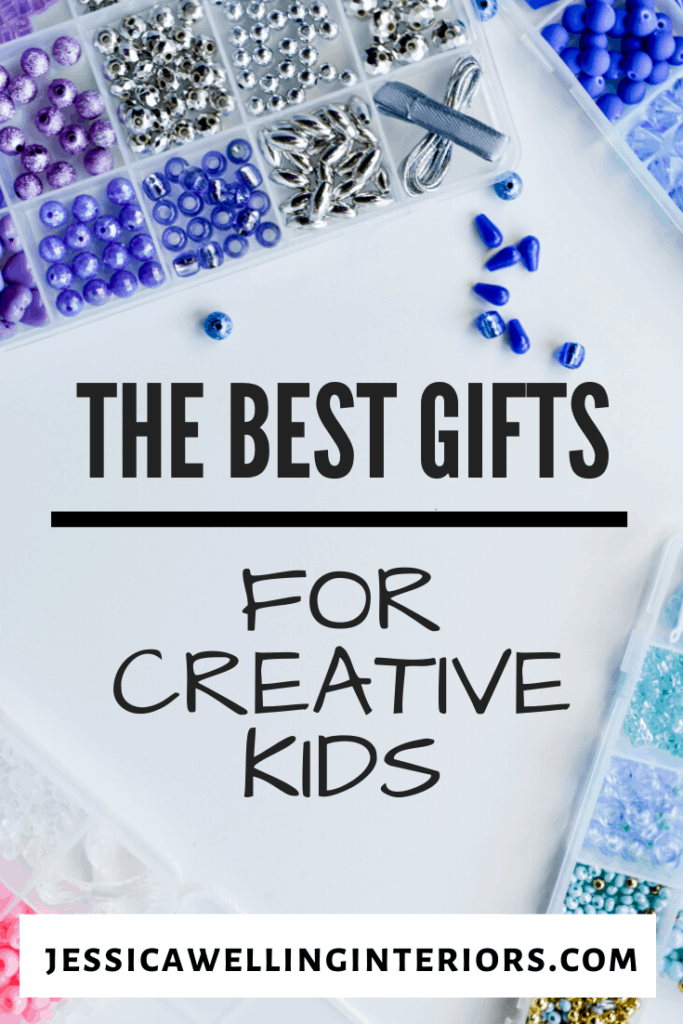 The Best Gifts for Creative Kids: blue beads on a white background.