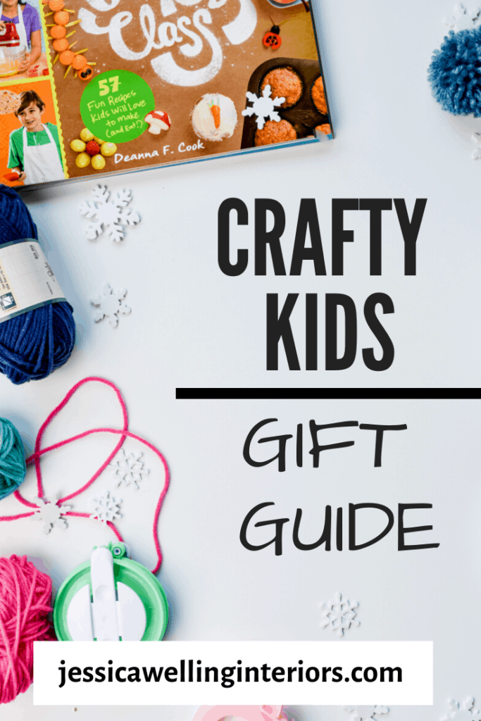 Crafty Kids Gift Guide- art gifts for kids on a white background- yarm, pompoms, pompom makers