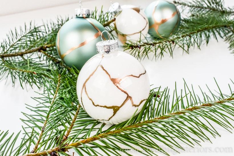 Easy Kintsugi DIY Christmas Ornaments