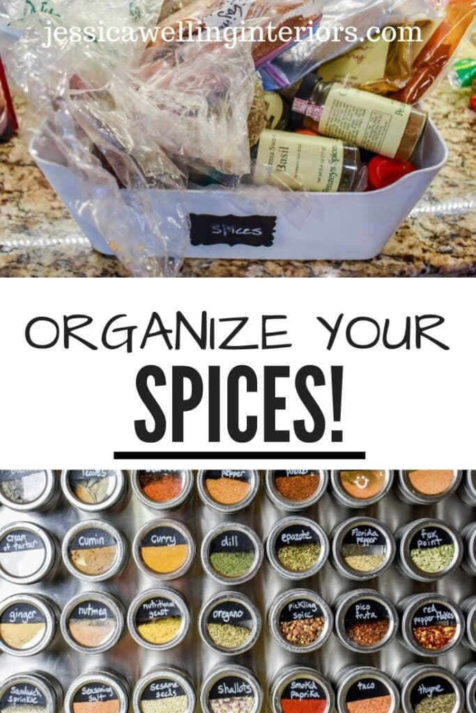 Organize your Spices! Collage of 2 images- tops is a plastic bin full of messy spices and bottom is a giant magnetic spice rack with 36 organized spices