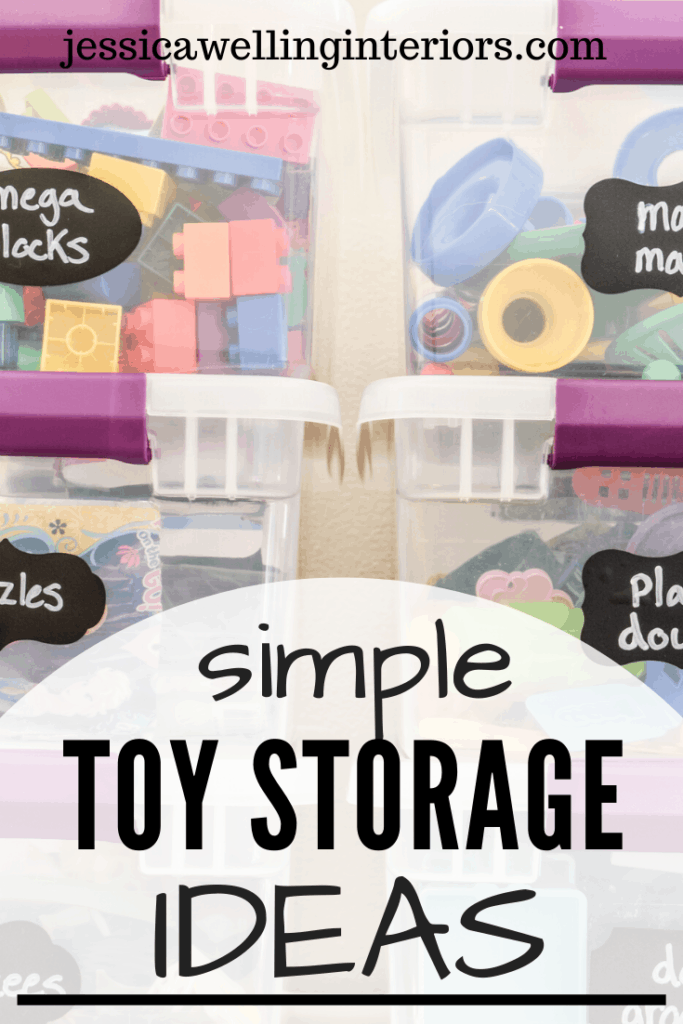 Simple Toy Storage Ideas: stacked clear plastic bins of toys with black chalkboard labels
