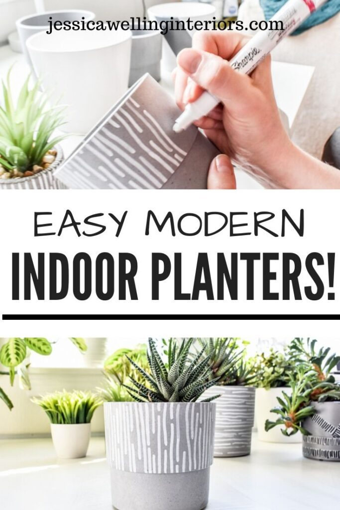 Easy Modern Indoor Planters: top image of han drawing line pattern on a grey indoor plant pot, bottom image of completed indoor planter with a plant
