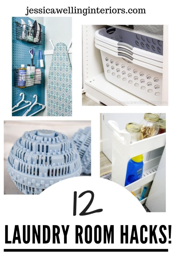12 Laundry Room Hacks: collage of 4 images- blue pegboard organizing laundry supplies and ironing board, stacked laundry baskets in a cabinet, laundry balls, and narrow laundry card between the washer and dryer