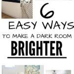 6 Easy Ways to Make a Dark Room Brighter: collage of window seat, colorful living room chairs, bright kitchen,