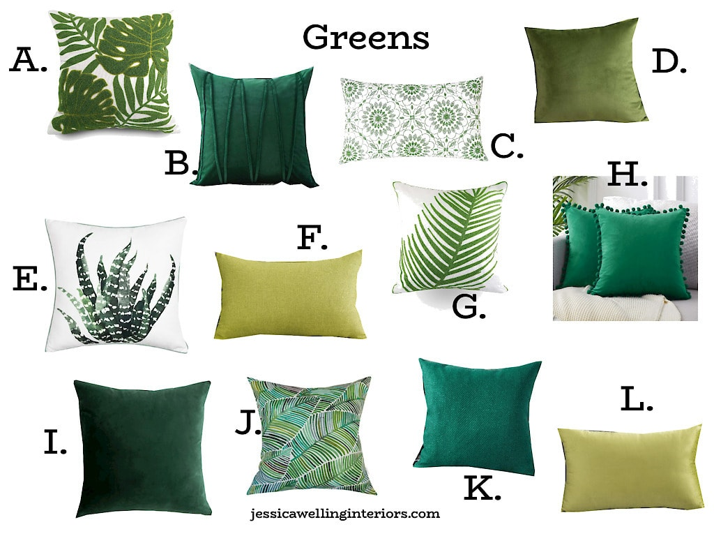 collage of green throw pillow covers from Amazon