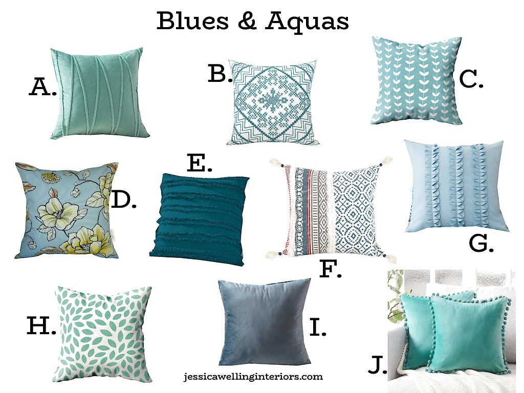 collage of aqua & teal throw pillow covers from Amazon