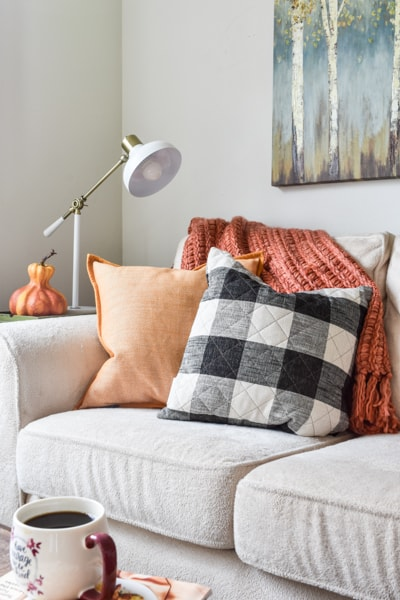example of how to increase your home's natural light: living room sofa with fall colored throw pillows and blanket in orange and yellow