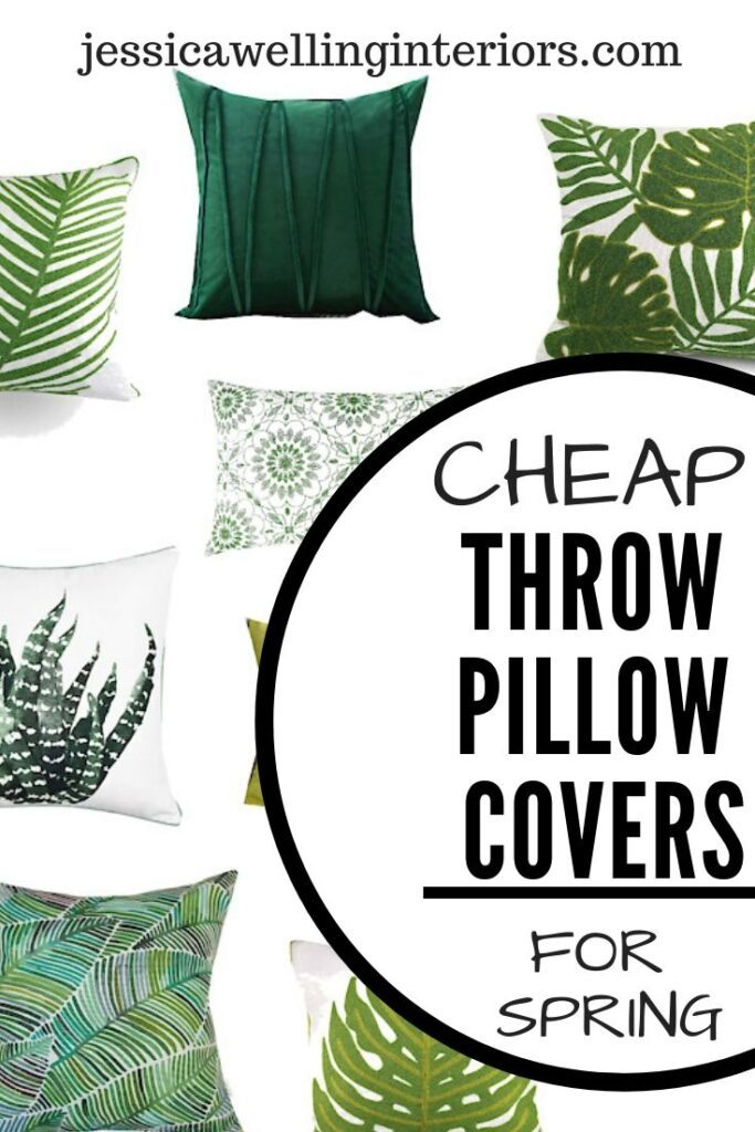Cheap Throw Pillow Covers for Spring! Collage of modern green throw pillows in solids, botanical patterns