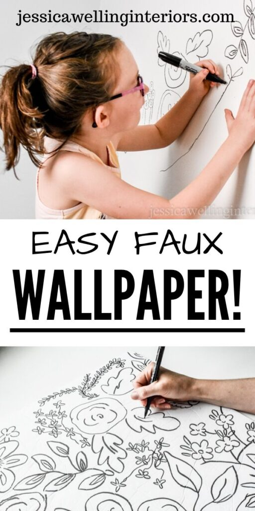 Easy Faux Wallpaper: hand drawing a black-on-white floral print on a wall , and child drawing a floral print on a white wall with a Sharpie