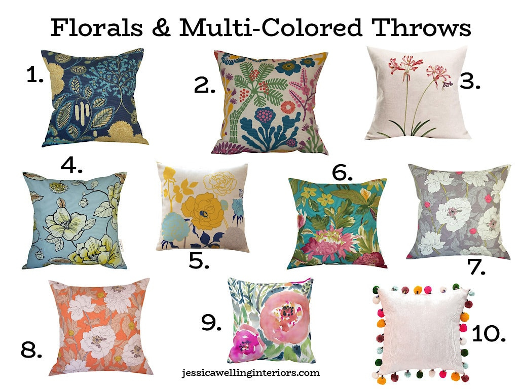 Florals & Multi-Colored Throws: numbered collage of colorful floral throw pillows, with cheap throw pillow covers from Amazon