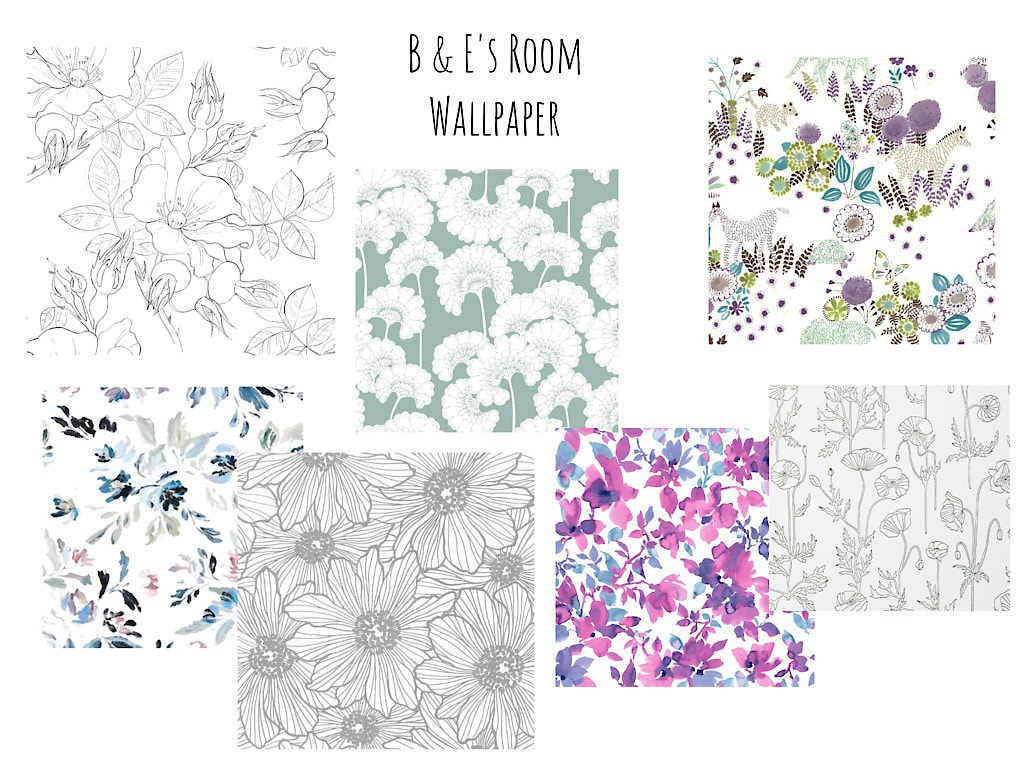 B & E's Room Wallpaper: collage of 7 different floral wallpaper swatches