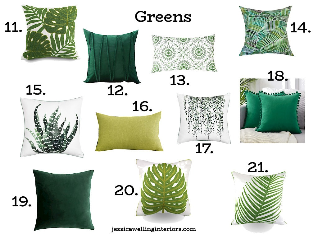 Greens: Numbered collage of green Spring throw pillows, solid green throw pillows, and botanical prints