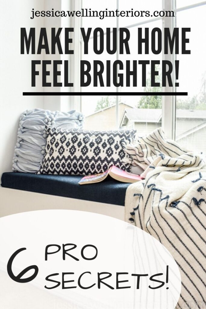 Make Your Home Feel Brighter! 6 Pro Secrets image of bright window seat with patterned throw pillows and blanket