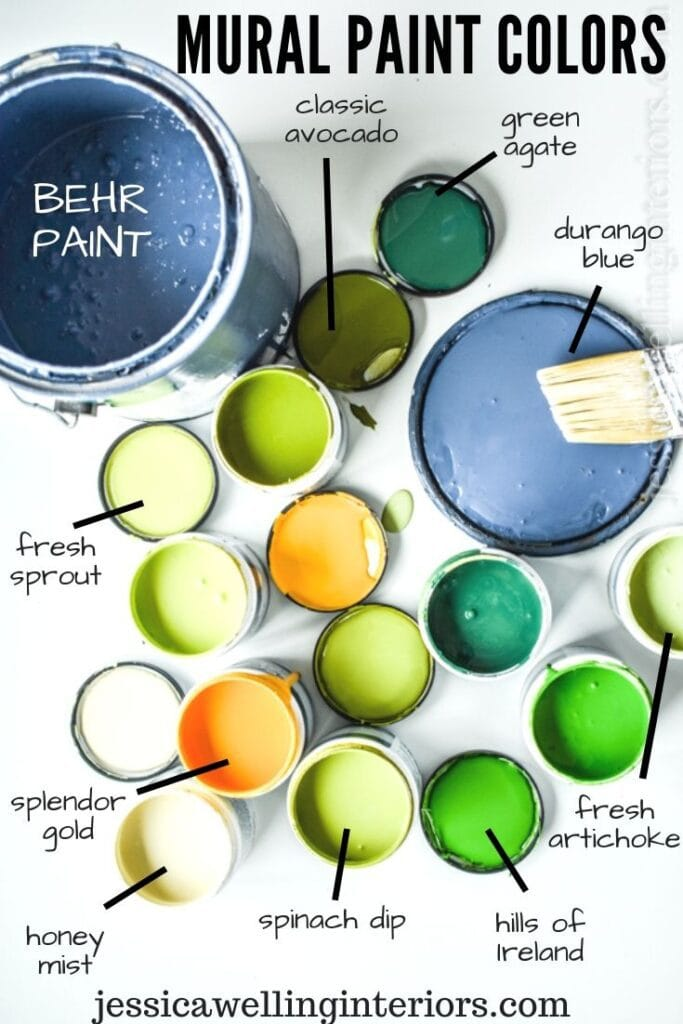 Mural Paint Colors: several open paint samples and lids showing brightly colored paint for botanical mural. Greens, blue, yellow,and cream
